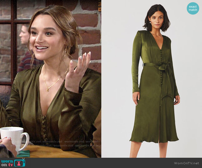 Ghost London Meryl Dress in Rifle Green worn by Summer Newman (Hunter King) on The Young & the Restless