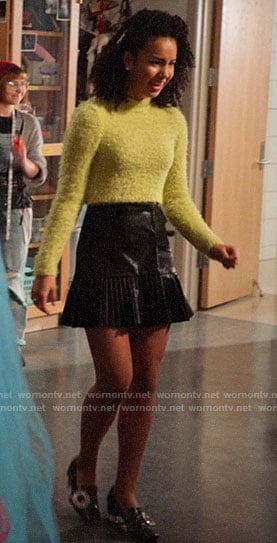 Gina's fluffy cropped sweater and pleated leather skirt on High School Musical The Musical The Series