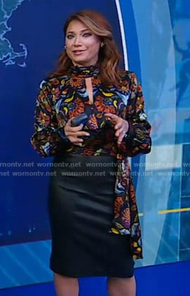 Ginger's black floral keyhole top and skirt on Good Morning America