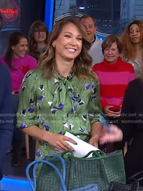 Ginger's green floral blouse and pants on Good Morning America
