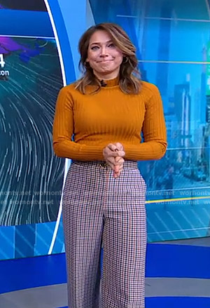 Ginger's orange sweater and plaid pants on Good Morning America