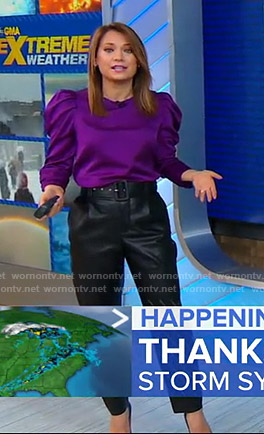 Ginger's purple puff sleeve top and belted pants on Good Morning America
