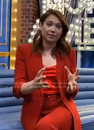 Ginger's red ruched sleeve blazer and pants on Good Morning America