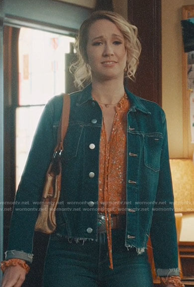 Ginny's frayed denim jacket on Perfect Harmony