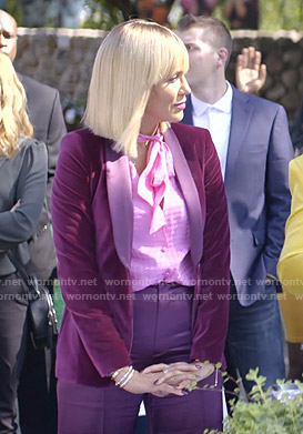 Giselle's pink tie neck blouse and purple velvet blazer on Empire
