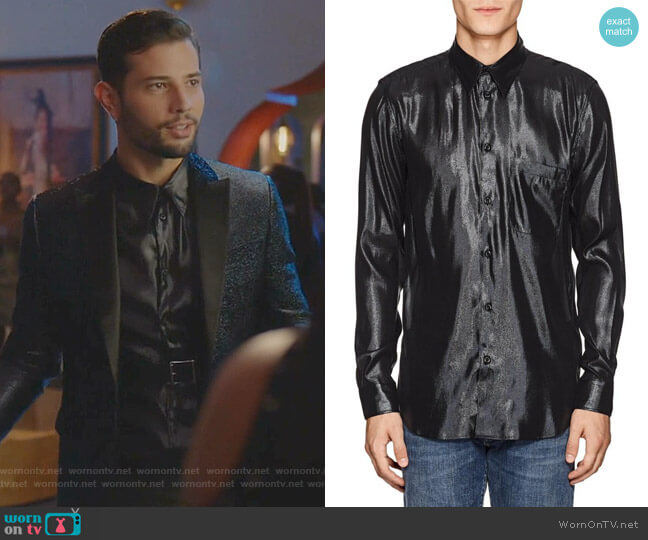 Silk-Blend Lame Shirt by Givenchy worn by Sam Flores (Rafael de la Fuente) on Dynasty