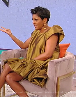 Tamron's green metallic mini dress on Tamron Hall Show