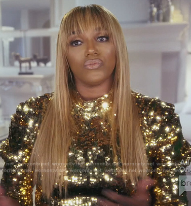Nene gold sequin puff blouse on The Real Housewives of Atlanta