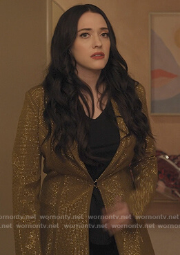 Jules's gold metalic blazer on Dollface