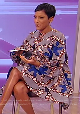 Tamron's gray floral flared dress on Tamron Hall Show
