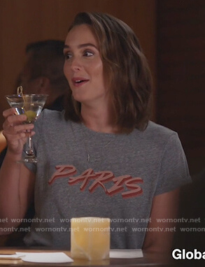 Angie's gray Paris print tee on Single Parents