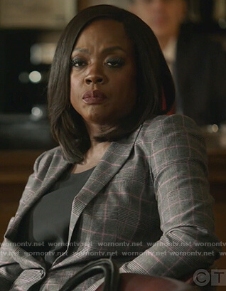 Annalise's gray plaid blazer on How to Get Away with Murder