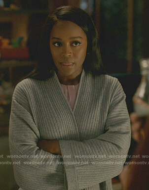 Michaela's gray ribbed cardigan on How to Get Away with Murder