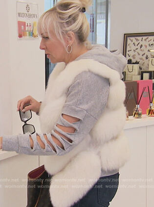 Margaret's gray split sleeve hoodie on The Real Housewives of New Jersey