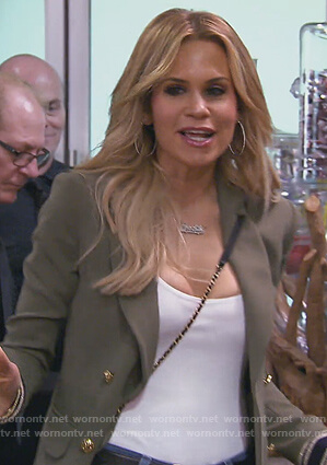 Jackie's green double breasted blazer with stripe cuffs on The Real Housewives of New Jersey