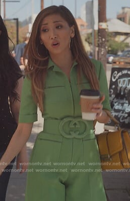 Madison's green Gucci belted jumpsuit on Dollface