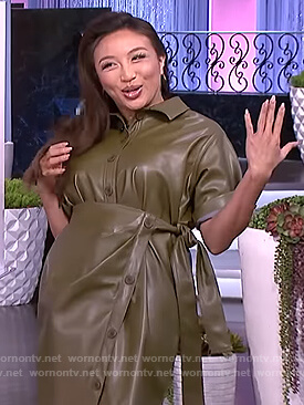 Jeannie's green leather wrap dress on The Real