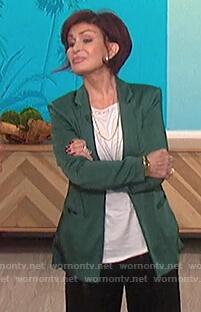 Sharon's teal satin blazer on The Talk