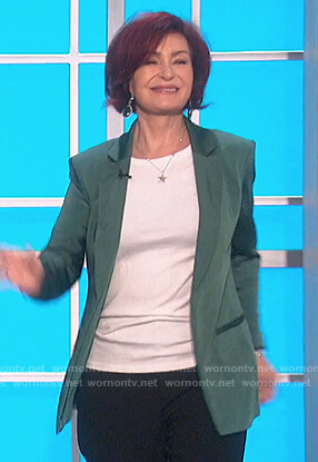 Sharon's teal satin blazer on The Talk