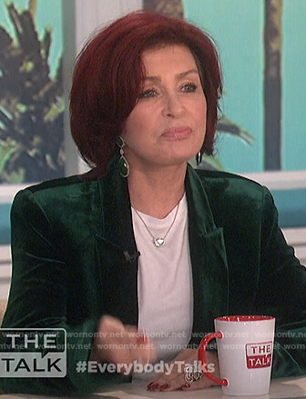 Sharon's green velvet blazer on The Talk