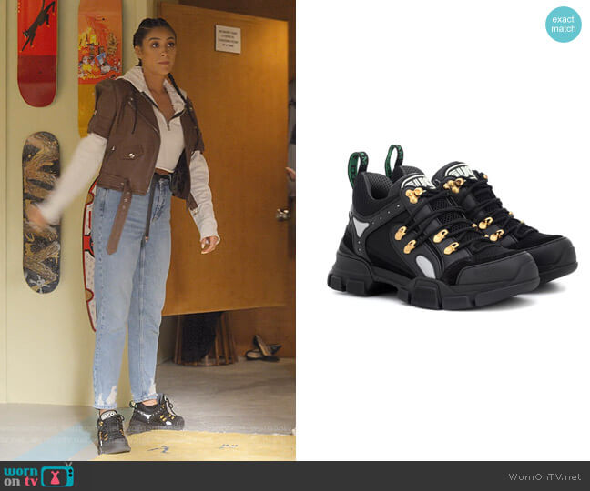 Flashtrek Leather Sneakers by Gucci worn by Stella Cole (Shay Mitchell) on Dollface