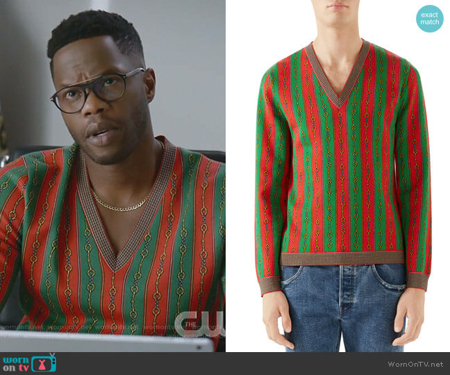 Scarf-Print V-Neck Sweater by Gucci worn by Jeff Colby (Sam Adegoke) on Dynasty