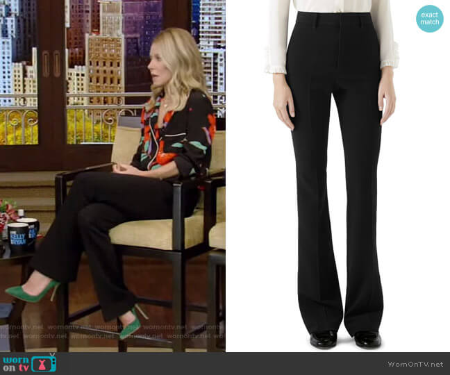 Stretch Cady Flare Pants by Gucci worn by Kelly Ripa  on Live with Kelly & Ryan