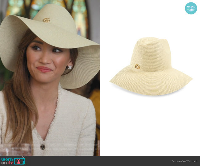 Woven Straw Sun Hat by Gucci worn by Madison Maxwell (Brenda Song) on Dollface