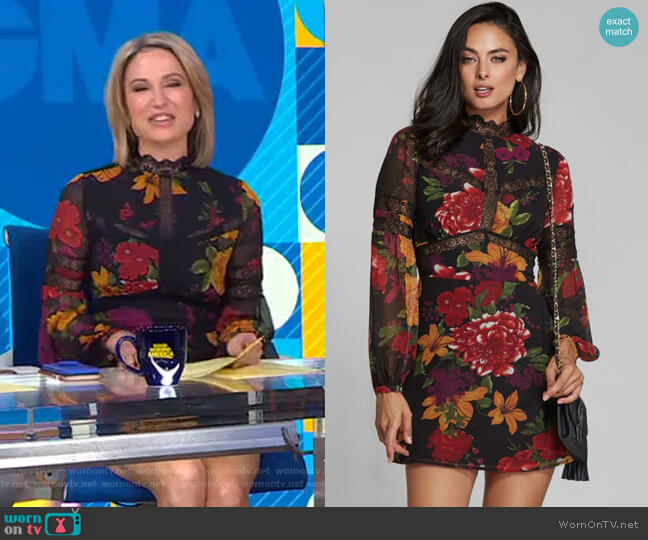 Floral Lace-Trim Dress by Marciano worn by Amy Robach  on Good Morning America