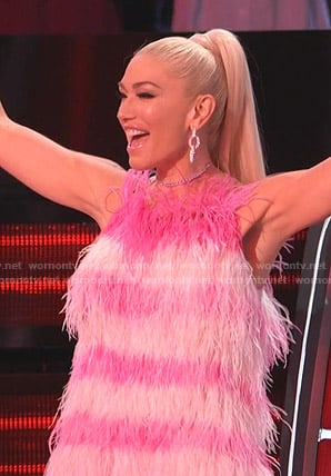 Gwen Stefani's pink striped feather dress on The Voice