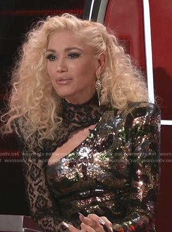 Gwen Stefani's sequined camouflage and lace dress on The Voice