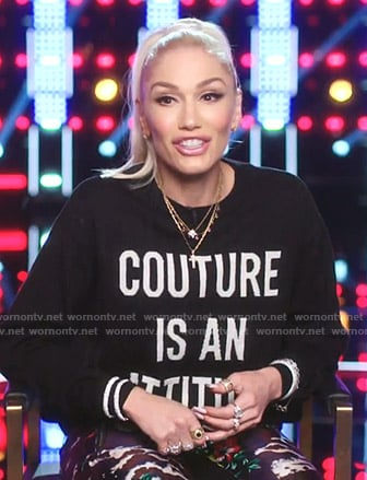 Gwen Stefani's Couture Is An Attitude sweater on The Voice