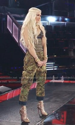 Gwen Stefani's metallic polka dot top and military pants on The Voice