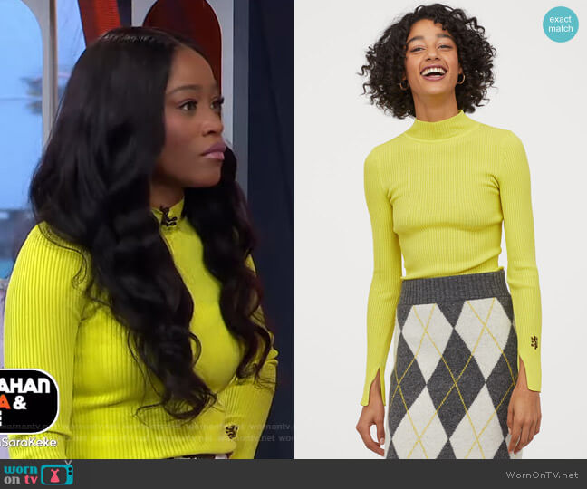 Ribbed Mock-turtleneck Sweater by H&M worn by Keke Palmer  on Good Morning America