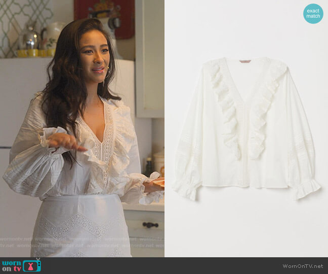 Ruffled Cotton Blouse by H&M worn by Stella Cole (Shay Mitchell) on Dollface