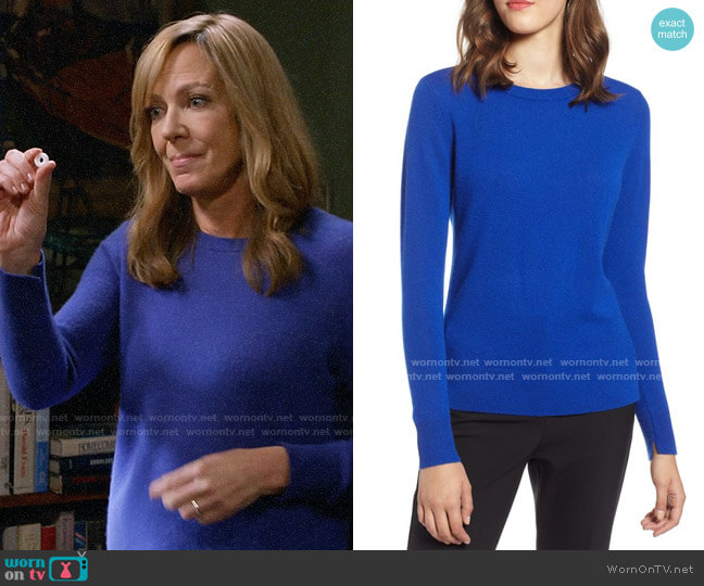 Halogen Crewneck Cashmere Sweater in Blue Mazarine worn by Bonnie Plunkett (Allison Janney) on Mom