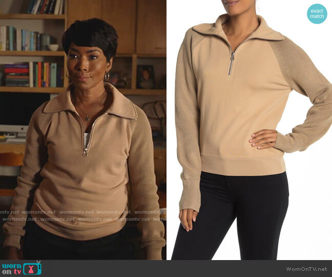 Contrast Sleeve Quarter Zip Sweatshirt by Helmut Lang worn by Athena Grant (Angela Bassett) on 9-1-1