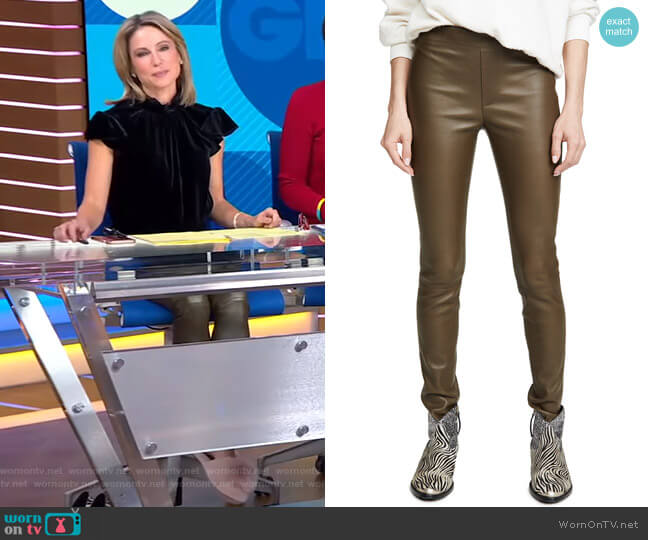 Leather Leggings by Helmut Lang worn by Amy Robach  on Good Morning America
