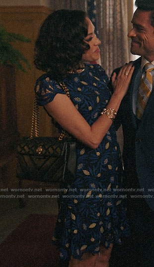Hermosa's blue floral lace dress on Riverdale