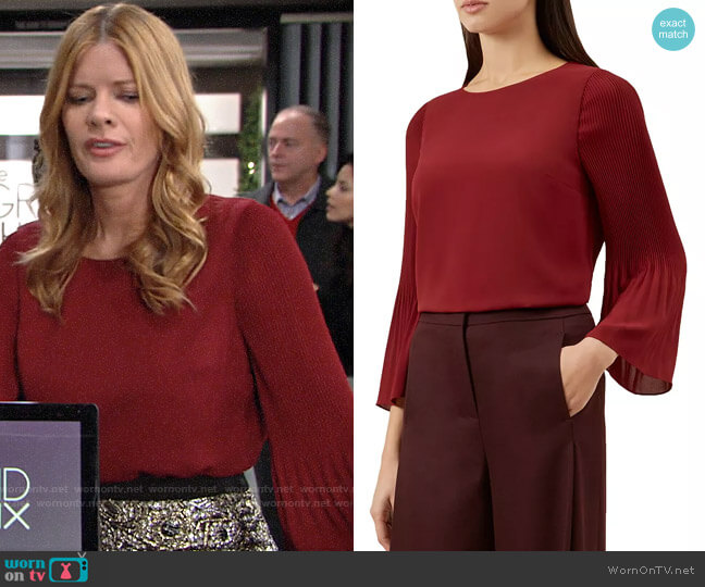 HOBBS London Juliana Pleated-Sleeve Top worn by Phyllis Summers (Michelle Stafford) on The Young & the Restless