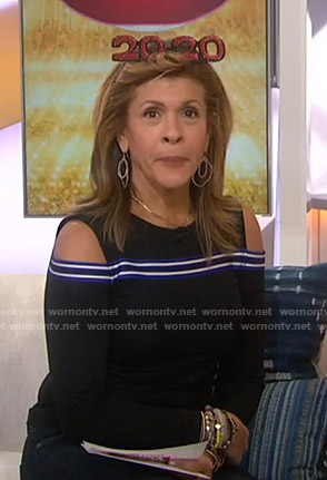 Hoda's black cold-shoulder long sleeve top on Today