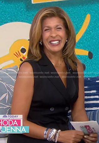 Hoda's black belted sleeveless maxi dress on Today
