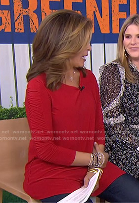 Hoda's red ruched sleeve top on Today