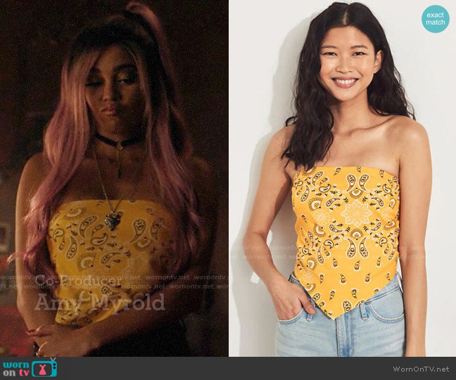 Hollister Bandana Tube Top worn by Toni Topaz (Vanessa Morgan) on Riverdale