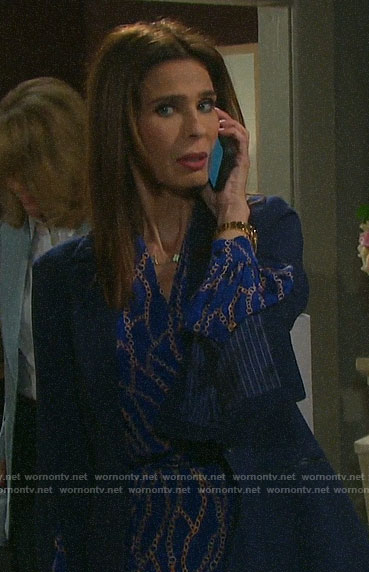 Hope's blue chain print blouse and split sleeve blazer on Days of our Lives