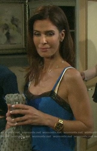 Hope's blue lace-trim cami on Days of our Lives