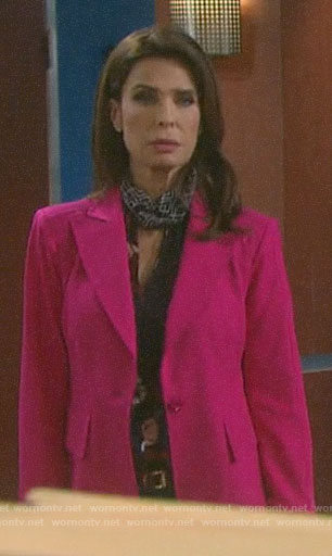 Hope's floral blouse and pink blazer on Days of our Lives