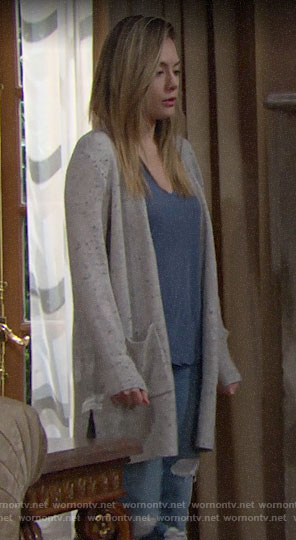 Hope's grey speckled cardigan on The Bold and the Beautiful