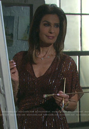 Hope's printed metallic maxi dress on Days of our Lives