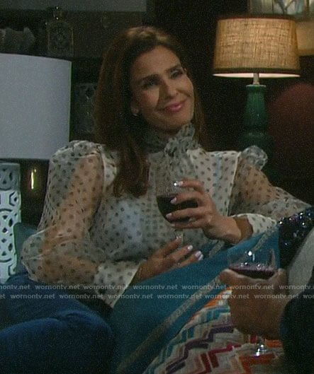 Hope's sheer polka dot blouse on Days of our Lives
